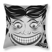 Tillie The Clown Of Coney Island In Black And White Throw Pillow