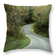 Time-exposed View Of Route 49 Taken Throw Pillow