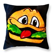 Time For A Happy Burger Throw Pillow