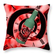 Time In A Bottle Red Throw Pillow