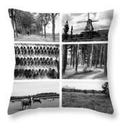 Timeless Brabant Collage - Black And White Throw Pillow