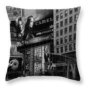 Times Square Black And White Throw Pillow