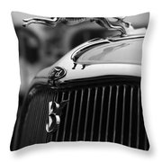 Timmis-ford V8 Greyhound Hood Ornament Throw Pillow