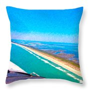 Tiny Airplane Big View II Throw Pillow