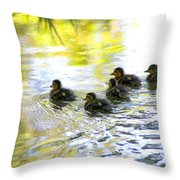 Tiny Baby Ducks Throw Pillow