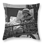Tiny Biker 2 Monochrome Throw Pillow