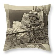 Tiny Biker 2 Sepia Throw Pillow