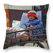 Tiny Biker 2 Throw Pillow