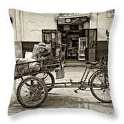 Tiny Biker Sepia Throw Pillow