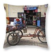 Tiny Biker Throw Pillow
