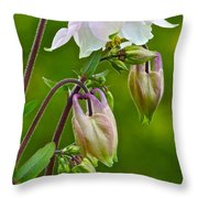 Tiny Floral Swans And Cygnets Throw Pillow