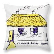 Tis Gingerbread House Throw Pillow