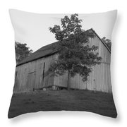 Tobacco Barn II In Black And White Throw Pillow