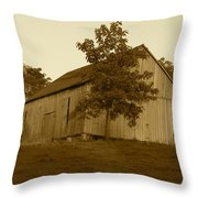 Tobacco Barn II In Sepia Throw Pillow