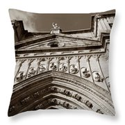 Toledo Cathedral Entrance In Sepia Throw Pillow