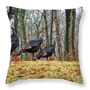Tom Turkeys All In A Row 1 Throw Pillow