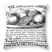 Tomato Advertisement, 1889 Throw Pillow