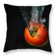 Tomato Falling Into Water Throw Pillow
