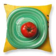 Tomato On Green Plate Throw Pillow