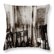 Tomb Famille Perrault Black And White Throw Pillow