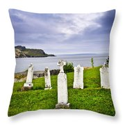 Tombstones Near Atlantic Coast In Newfoundland Throw Pillow by Elena Elisseeva