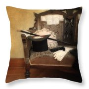 Top Hat And Cane On Sofa Throw Pillow