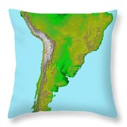 Topographic View Of South America Throw Pillow