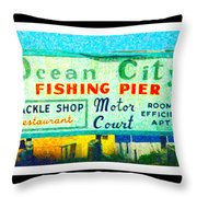 Topsail Island Old Sign Throw Pillow