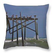 Topsail Ocean City Pelicans Throw Pillow