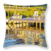 Topsail Sound At Sunset Throw Pillow
