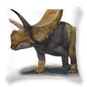 Torosaurus Latus, A Prehistoric Era Throw Pillow