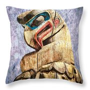 Totem Pole In The Pacific Northwest Throw Pillow