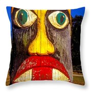 Totem Pole With Tongue Sticking Out Throw Pillow