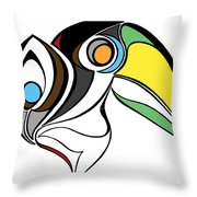 Toucan And Company On White Throw Pillow