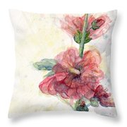 Touch Of Summer Hollyhocks Watercolor Throw Pillow