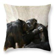 Touching Moment Gorillas Kissing Throw Pillow