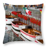 Tour Boats Throw Pillow