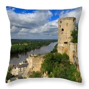 Tour Du Moulin And The Loire River Throw Pillow
