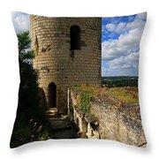 Tour Du Moulin At Chateau Chinon Throw Pillow