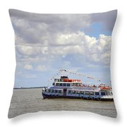 Touring Boat Throw Pillow by Carlos Caetano