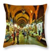 Tourists At The Grand Bazaar Throw Pillow