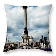 Tourists At Trafalgar Square Throw Pillow