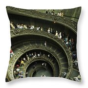 Tourists Descend The Double Spiral Throw Pillow