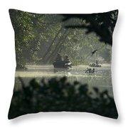 Tourists Exploring The Rain Forest Throw Pillow