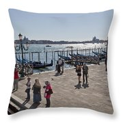 Tourists In Venice Throw Pillow