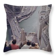 Tourists Looking Down On The Chicago Throw Pillow
