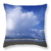 Tourists On The Beach, Inch Beach Throw Pillow