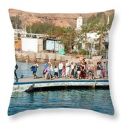 Tourists Waiting To Climb Onto Dive And Snorkeling Boats At Sharm El Sheikh Throw Pillow