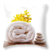 Towel Roll Throw Pillow by Atiketta Sangasaeng