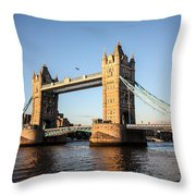Tower Bridge And Helicopter Throw Pillow